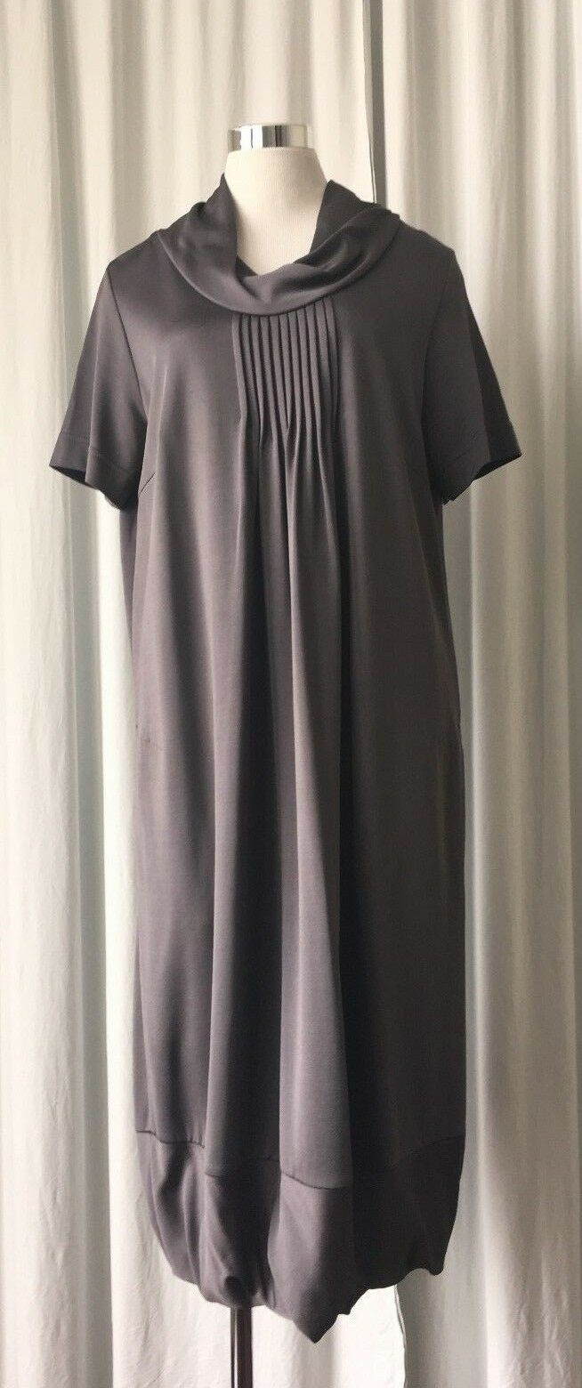 VOYAGE BY MARINA RINALDI GUNMETAL KNIT DRESS L