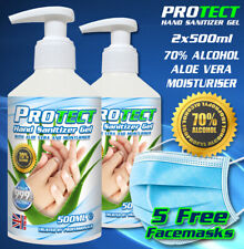 Hand Sanitiser Gel 2x500ml Anti-Bac Kills Germs 70% Alc PROtect 5 free masks