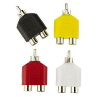 4x RCA Y Splitter AV Audio Video Plug Converter 1 Male to 2 Female Cable Adapter