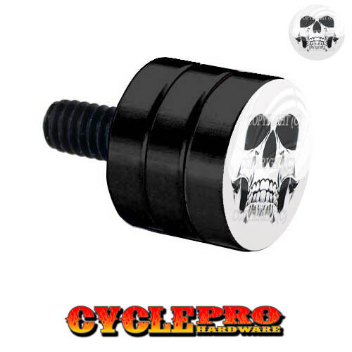 086 Double Grooved Black Billet Fender Seat Bolt Harley GHOST SKULL