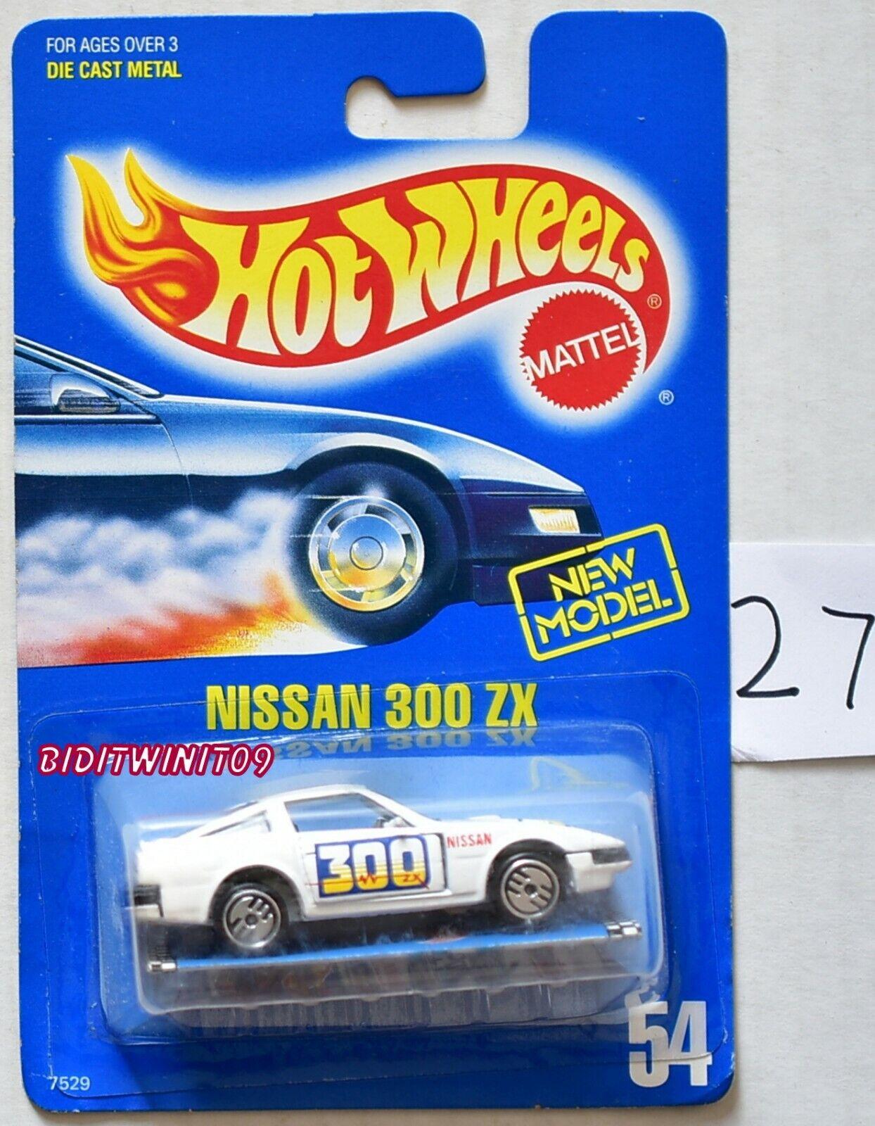 Hot Wheels 1989 Tarjeta Azul Nissan 300 ZX  54 blancoo con pamplet W +