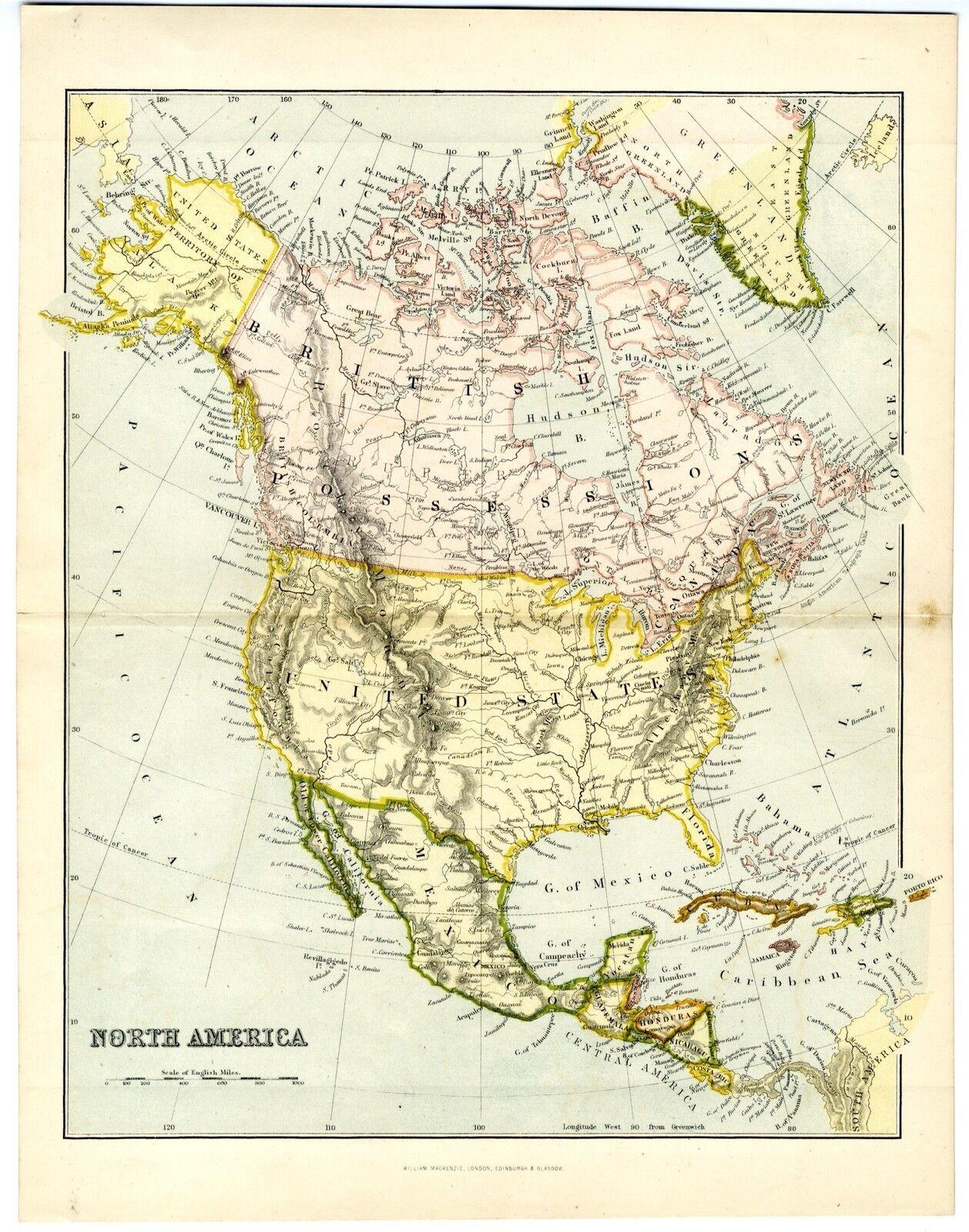 1868 Antique Map NORTH AMERICA British Possessions Canada USA Mexico