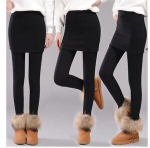 THERMO LEGGINGS MIT Rock MIT Futter Schwarz Hose Damen warm