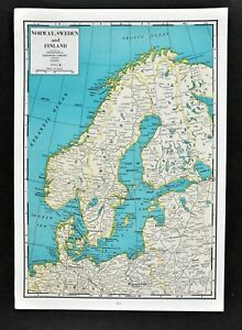 1944 Geographical Map Norway Sweden Finland Denmark Oslo Stockholm Helsinki Ebay