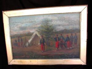 PERIOD-CIVIL-WAR-PAINTING-ZOUAVES-CAMP-CHAIN-BRIDGE-VIRGINIA-c-1860-039-S