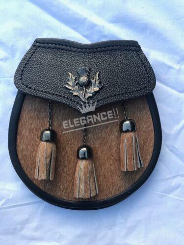 Mens Scottish Kilt Sporran Half Dress Brown Bovine Thistle Crest Badge Antique