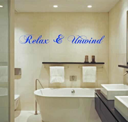 Bathroom Wall Art Sticker Relax Unwind Wall Art Quote Soak Relax Room Bath Bathe