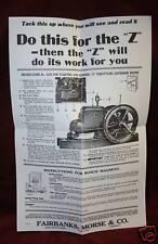 Fairbanks Morse Z Engine Wall Chart Hit Amp Miss Gas Motor Spark Plug Flywheel