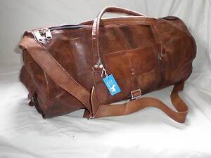Handmade-Goat-Leather-DMR-20-034-Duffel-Overnight-ROUND-Bag-Free-Leather-Care