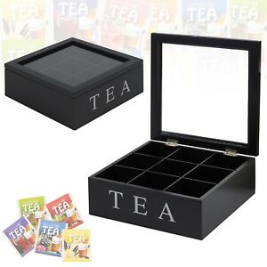 Tea-Box-9-Section-Wooden-MDF-Clear-Lid-Compartments-Container-Bag-Caddy-Chest