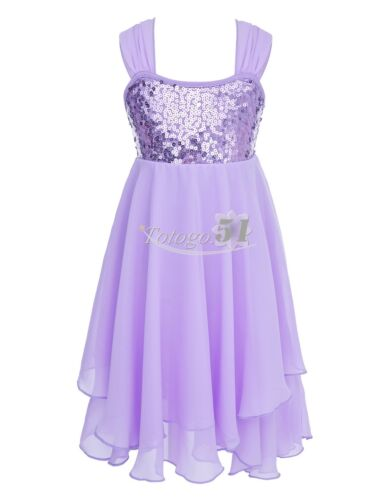 Girls Sequined Ballet Lyrical Dance Irregular Chiffon Dress Ballroom Costumes