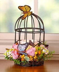 SPRING FLORAL AND BUTTERFLY BIRDCAGE CANDLEHOLDER W/LED LIGHTED CANDLE