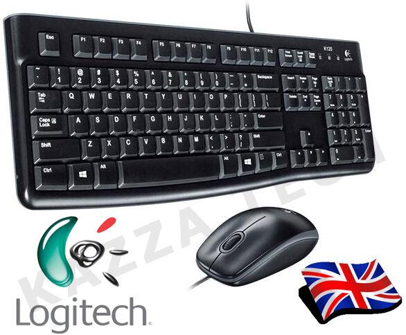 Logitech MK120 Câblé Royaume-Uni Clavier & Souris Lot Bureau Ensemble Noir