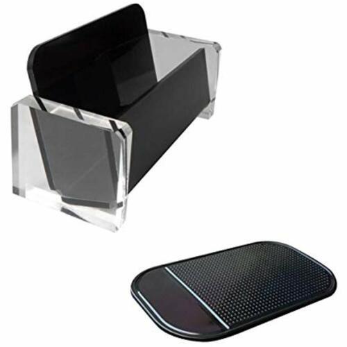 Acrylic Desktop Business Card Holder Display Elegant Stand Office Black//Clear