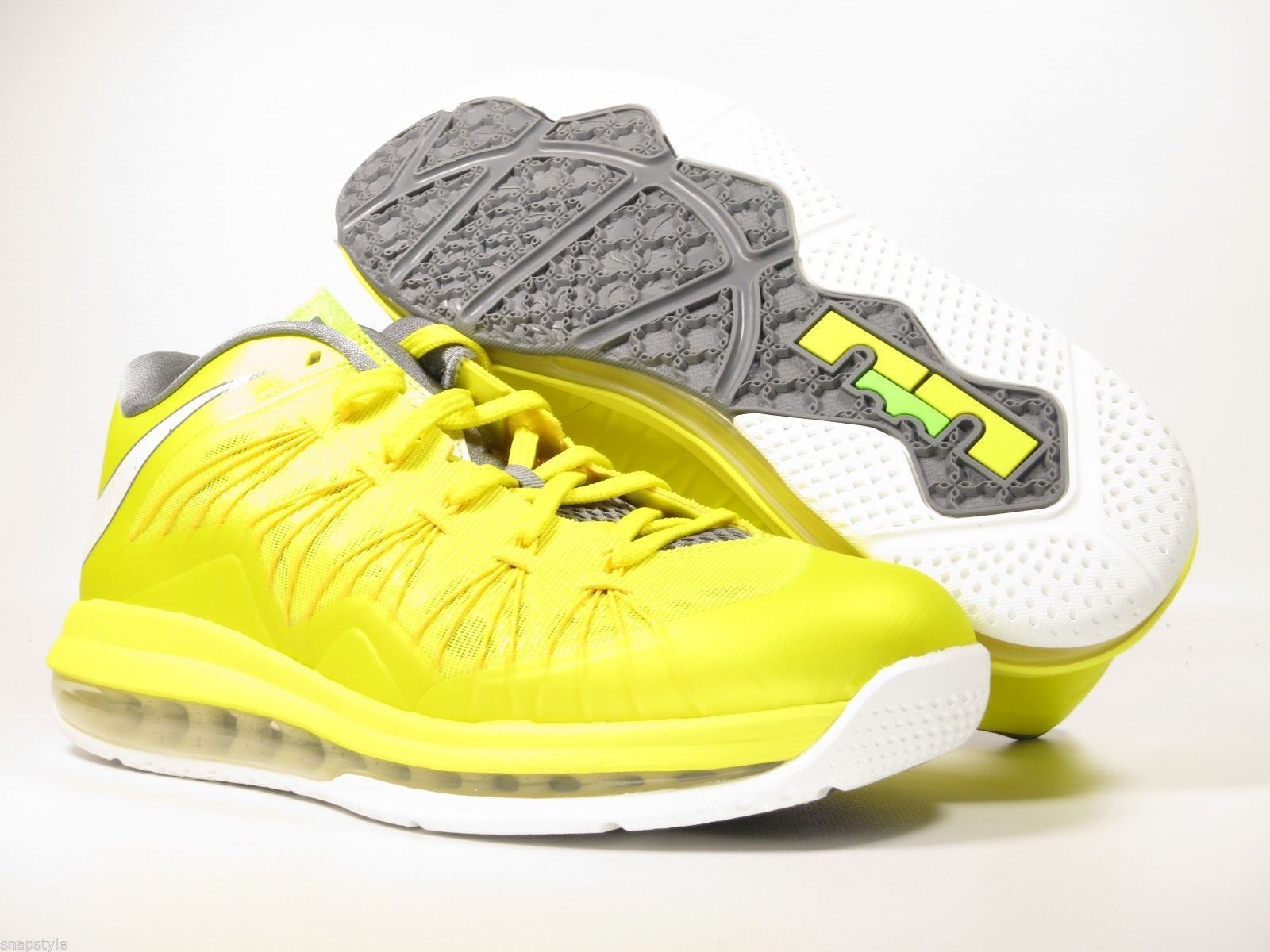 New AIR Max Lebron X Low 2013 - Sonic Yellow SL-Cool Grey-True Yellow Size 8