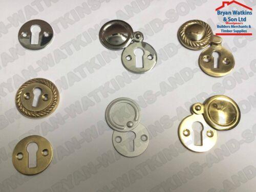 Géorgien moderne porte clé Trou écussons victorien Laiton//Chrome//Aluminium