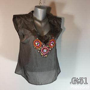 fbe3bb067d6c56 Women s Next Brown Silk Evening Top Decorative Neckpiece Size ...