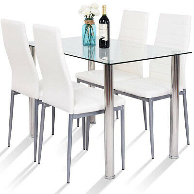 5 Piece Dining Table Set Modern Gl Top Pvc Leather Chairs Kitchen Room Ebay