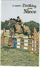 Happy Birthday Niece 1970s Vintage Greeting Card - Showjumping Horse Riding