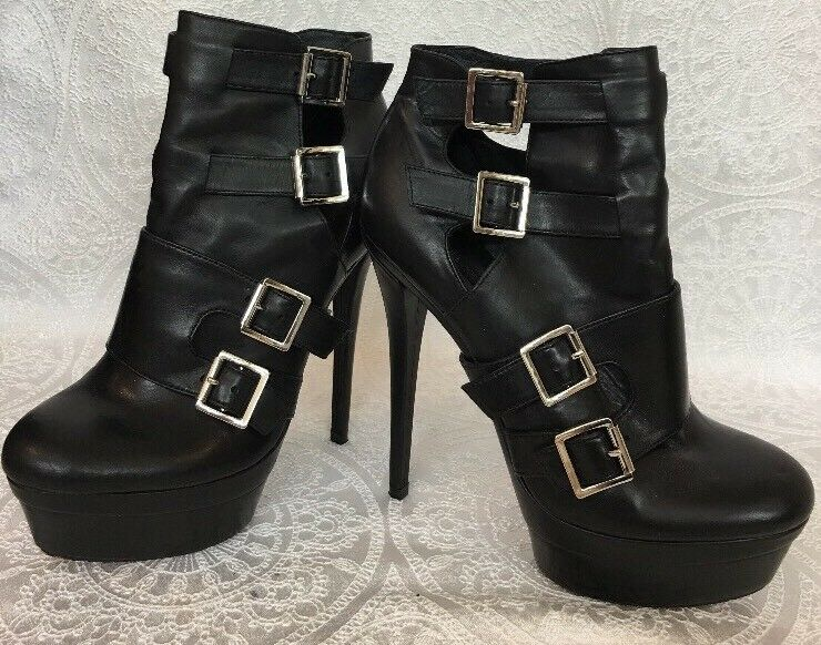 Rachel Zoe Giovanna Booty Black 4 Buckles Thin Heel Heel Heel Platform Size 8 1 2 0b2439