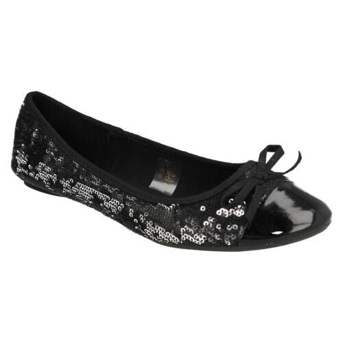 F8R602 Femmes Spot on Bout Rond sequin Noir Nœud Plates Ballerine Chaussures