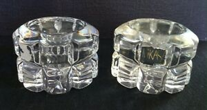 Vintage-Hand-Cut-Lead-Crystal-Mikasa-Glass-Set-of-Two-Candle-Holders-Collectible