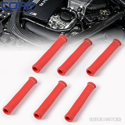 Protector Sleeve Sleeving Spark Plug Wire Boot Fuel Oil Lines 6 Pcs  Red
