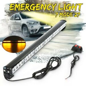 Emergenza-Lampeggiante-Luce-Barra-LED-68-6cm-24W-Giallo-Bianco-con-Switch-12V