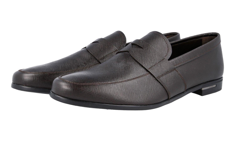 LUSSO PRADA SAFFIANO PENNY LOAFER SCARPE 2de072 MARRONE NUOVO NEW 10,5 44,5 45 Scarpe classiche da uomo
