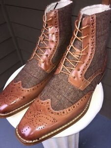 Men-Latest-Winter-Wing-Tip-Real-Leather-amp-Tweet-Fabric-Boots-bottes-hommes