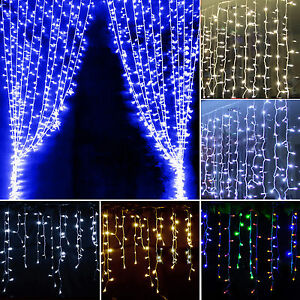 96-128-216-LED-Icicle-Hanging-Curtain-Fairy-String-Lights-Tree-Christmas-Wedding