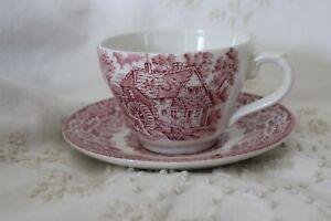Vintage-Broahurst-Ironstone-tasse-et-soucoupe-Rouge