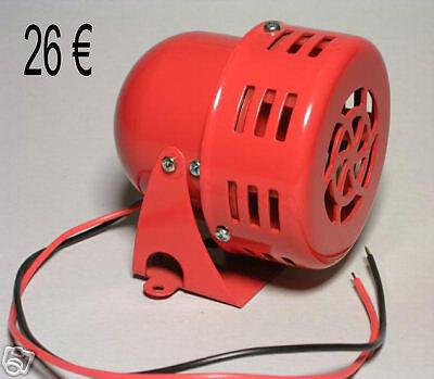 sirène électrique a galet klaxon us 12v  a galet neuve us siren alarm rouge US