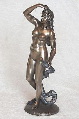 eva,akt,figur,frau,32,5x10,5cm,aktfigur,skulptur,bronziert,frauenakt,schlange