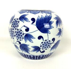 Asian-Decorative-Pot-Jar-Vase-Cobalt-Blue-White-Floral-Ceramic-Chinoiserie