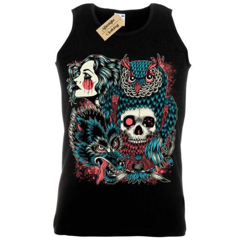 Wild Native T-Shirt tribal woman skull Vest Mens