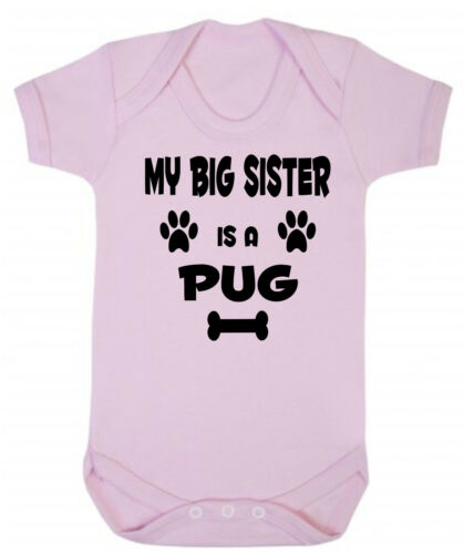 My Big Brother Is A Pug Dog Blue or Pink Soft Cotton Baby Bodysuit or Sister