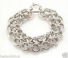 "8"" Diamond Cut Double Circle Bracelet Epiphany Platinum Clad Sterling Silver"