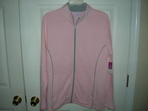 new-WOMENS-jacket-size-Large-12-14-COAT-Pink-zip-front-knit-pockets-gray-accent