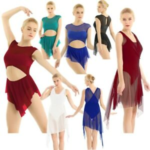 Women-Mesh-Lyrical-Gymnastics-Ballet-Leotard-Dress-Girls-Skirt-Ballerina-Costume