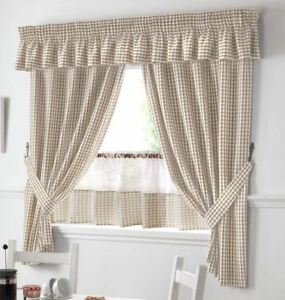 Beige Kitchen Curtains | Beige And White Gingham Kitchen Curtains Pelmet 18 Cafe Panel 3