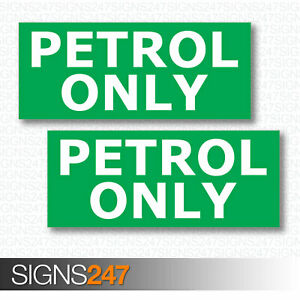 PETROL-ONLY-STICKERS-x2-Self-Adhesive-Vinyl-Stickers-Car-Petrol-Cap-Van-Lorry
