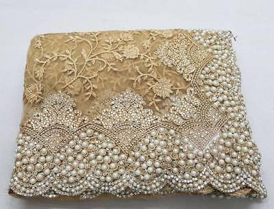 Designer New Beautiful Pearl Beaded Net Saree Cocktail Party Wedding Puja Wear Saree With Unstitched Running Blouse Bridal Festive Sari