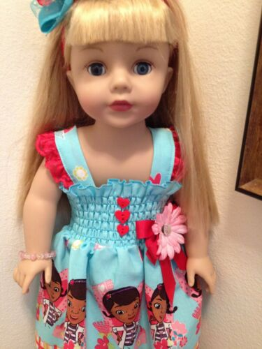 2T-7//8Y //HairBow /& Doll Dress New Handmade Doc McStuffins Dress Toddler//Girls