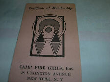 Antique 1940 Certificate of Membership CAMP FIRE GIRLS NEW YORK Vintage x