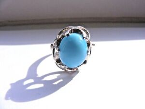 Vtg-Sterling-Silver-Light-Blue-Turquoise-Dome-Ring-Size-8