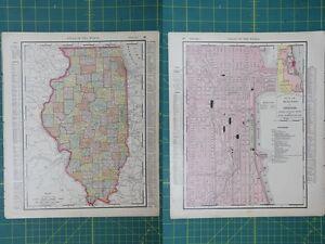 Illinois chicago vintage original 1895 rand mcnally world atlas map image is loading illinois chicago vintage original 1895 rand mcnally world gumiabroncs Image collections