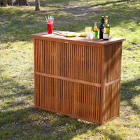 Brown Wood Patio 2 Shelf Bar Table Outdoor Home Furniture Garden Deck Poolside