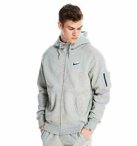 Details about Nike Men's AW77 Fleece Hoodie Full Zip Hooded Top Jacket 649765 063 Grey