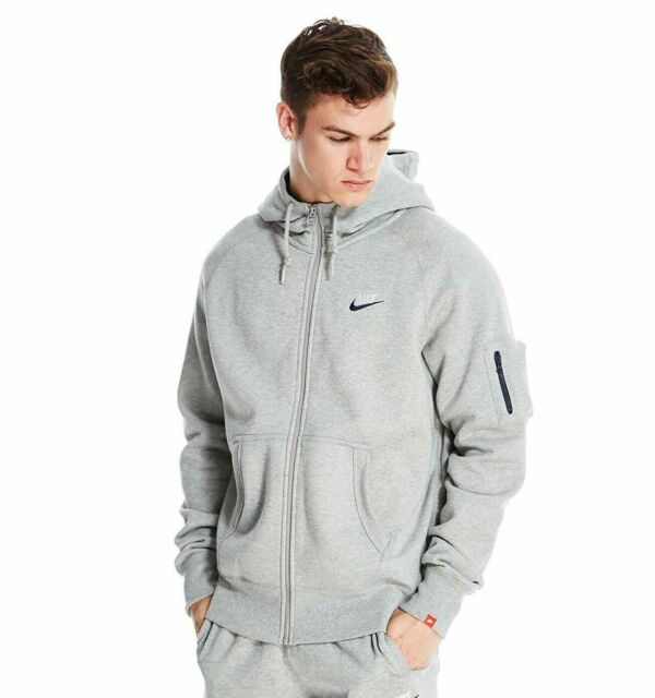 Nike AW77 Fleece Full Zip Hoodie Hybrid Men's Jacket 678532 091 Gray sz XL